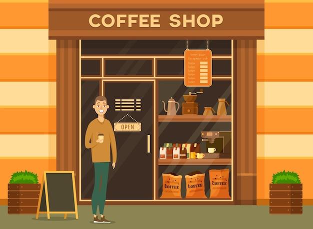 Człowiek klienta w pobliżu kawiarni lub kawiarni