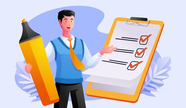 Człowiek kompletna lista kontrolna w schowku i papierkowej robocie
