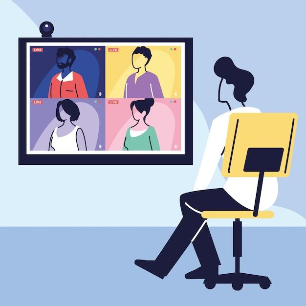 Człowiek korzystający z komputera do wirtualnego spotkania, wideokonferencji, pracy zdalnej, technologii