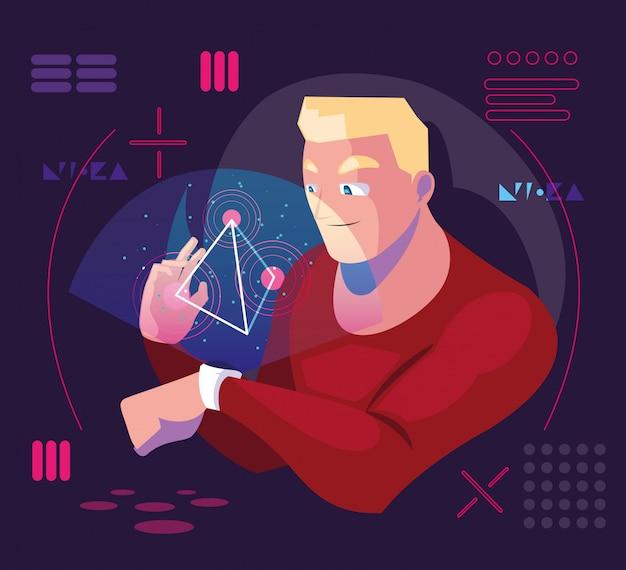Człowiek korzystający z technologii rzeczywistości rozszerzonej