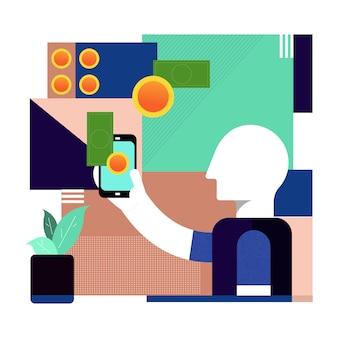 Człowiek korzystający z telefonu komórkowego do płatności w technologii portfela elektronicznego