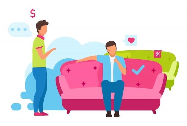 Człowiek kupno ilustracja kanapa. chłopiec wybiera wygodną sofę do aranżacji wnętrz, sprzedawczyni pomaga klientom postaci z kreskówek. konsument dokonujący zakupów w sklepie meblowym