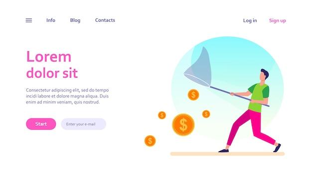 Człowiek łapie pieniądze z netto motyla. gotówka, monety, szablon sieci web dolara.