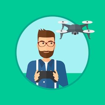Człowiek latający dron.