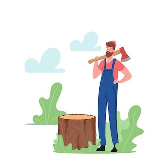 Człowiek logger cięcie drzew. drwal postać z siekierą na ramieniu w lesie. pracownik przemysłu drzewnego pracujący. wylesianie, cięcie timberwood, ślad węglowy. ilustracja wektorowa kreskówka ludzie