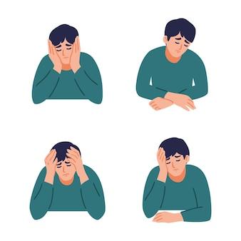 Człowiek ma ból głowy. chłopiec odczuwa niepokój i depresję. koncepcja zestawu zdrowia psychicznego.