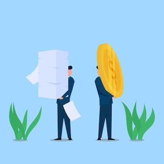 Człowiek ma papierkową robotę, podczas gdy inni trzymają monety metaforę wysiłku i nagrody. biznes ilustracja koncepcja płaski.