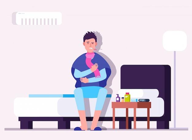Człowiek ma przeziębienie lub grypę. zimowa choroba, chory, pacjent z termometrem. wirus grypy zapobiegania wektor medycznych koncepcji