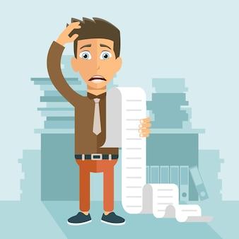 Człowiek martwi się o swoje rachunki
