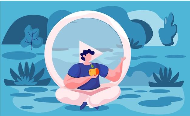 Człowiek medytujący w przyrodzie. ilustracja koncepcja jogi, medytacji, relaksu, rekreacji, zdrowego stylu życia.