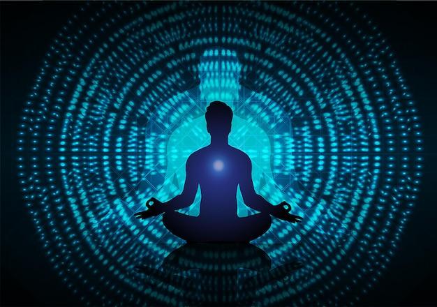 Człowiek medytuje ciemne czarne abstrakcyjne tło joga wiązka promieni buddyjska hinduska medytacja