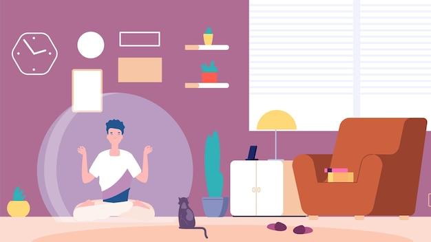 Człowiek na białym tle. introwertyk w domu, spokój psychiczny i medytacja. chłopak myślący lub facet odpoczywa oddzielony od świata
