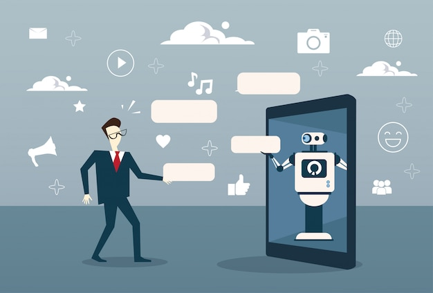 Człowiek na czacie z botem z cyfrowego tabletu lub komórki smart phone digital support technology