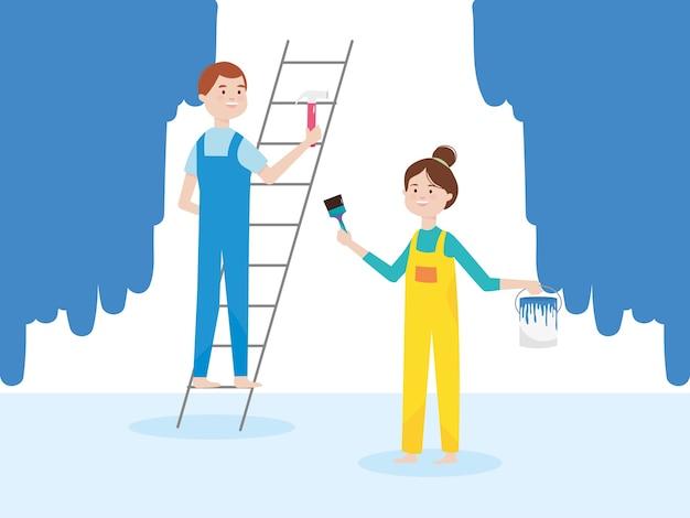 Człowiek na drabinie z młotkiem i dziewczyna z przebudowy ilustracji pędzla i wiadra
