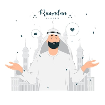 Człowiek na ilustracji koncepcja ramadan kareem