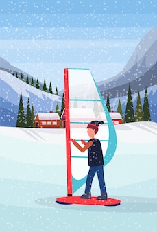 Człowiek na snowboardzie w śniegu