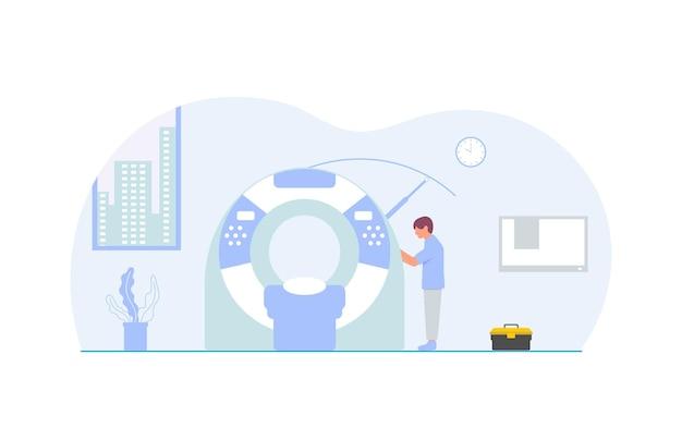 Człowiek naprawiający tomografię komputerową płaska konstrukcja