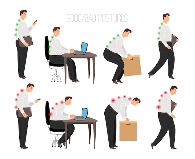 Człowiek niewłaściwa i poprawna postawa. prawidłowa pozycja siedząca laptopa i podnoszenie ciężkich przedmiotów, stanie i chodzenie poprawnie koncepcja z męską postacią na białym tle, wektor