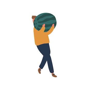 Człowiek niosący arbuz płaski wektor ilustracja. zbieranie żniw letnich i jesiennych. mężczyzna rolnik posiadający duże owoce w ręce postać z kreskówki. ekologiczny element projektu sprzedaży i zakupu upraw.