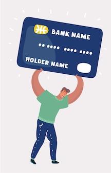 Człowiek niosący duże zadłużenie na karcie kredytowej