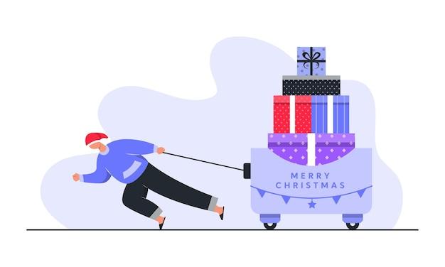 Człowiek niosący gigantyczne świąteczne pudełka ilustracja koncepcja