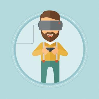 Człowiek nosi słuchawki wirtualnej rzeczywistości