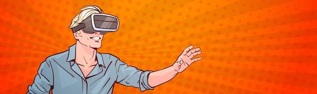 Człowiek nosić nowoczesne okulary 3d koncepcja rzeczywistości wirtualnej pop-art styl tło transparent poziomy