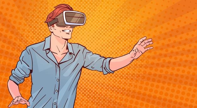 Człowiek nosić nowoczesne okulary 3d koncepcja wirtualnej rzeczywistości pop-art styl tło