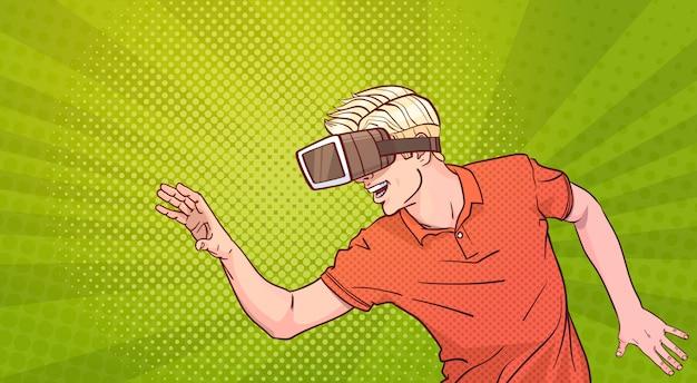 Człowiek nosić okulary 3d okulary wirtualnej rzeczywistości gestykulacji styl pop-artu tło