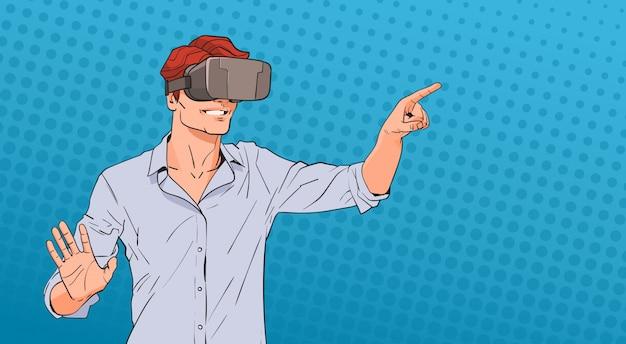 Człowiek nosić okulary wirtualnej rzeczywistości cyfrowej pop art kolorowy styl retro