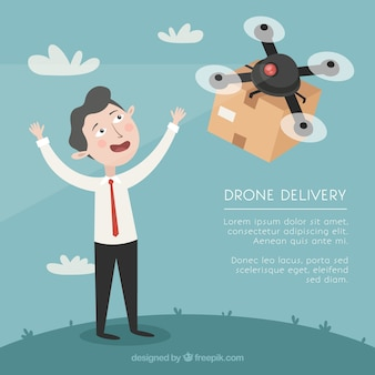 Człowiek otrzymujący pakiet przez drone