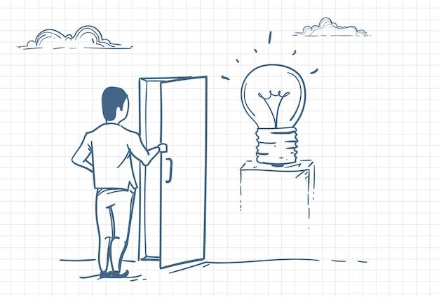 Człowiek otwierający drzwi do nowych pomysłów