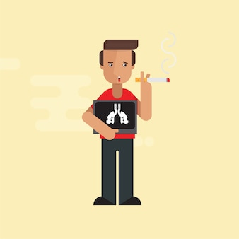 Człowiek palenia z x-ray płuc