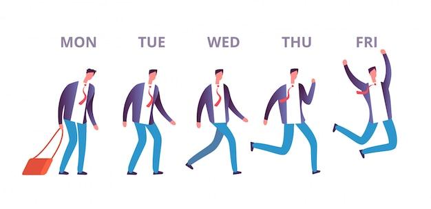 Człowiek piątek koncepcja. śmieszny biznesmen czuje się szczęśliwy przechodząc przez dni tygodnia do weekendu. szczęśliwy piątek wektor koncepcja