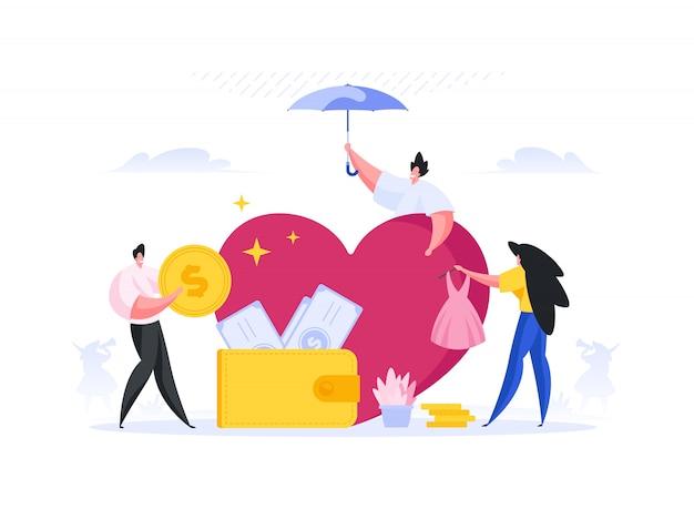 Człowiek pielęgnujący ulubiony pomysł dla inwestorów. ilustracja