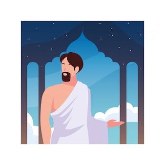 Człowiek pielgrzyma hadżdż stojący, dzień dhul hijjah
