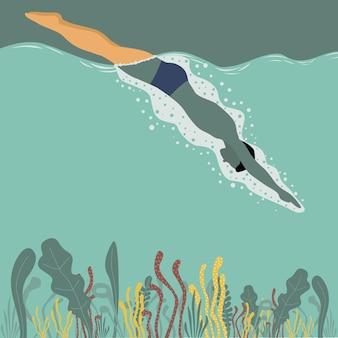 Człowiek pływanie na morzu