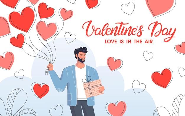 Człowiek posiadający balony serca i pudełko. ładna postać z kreskówki.