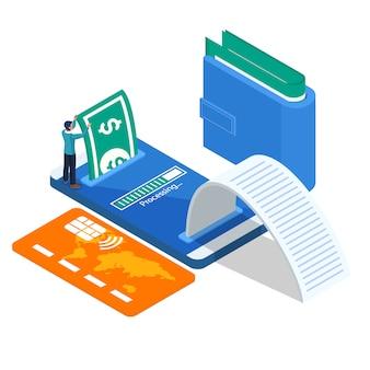Człowiek posiadający duże pieniądze na płatności online. mężczyzna z telefonem komórkowym, portfelem, kartą kredytową.
