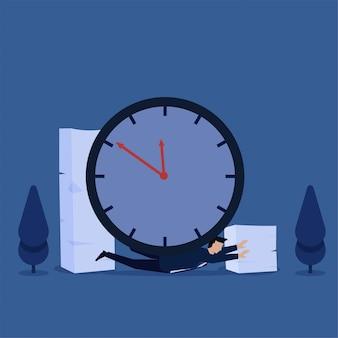 Człowiek powalony zegarem i papierkową robotą jako metafora ciężkiej pracy i przepracowania. biznes ilustracja koncepcja płaski.