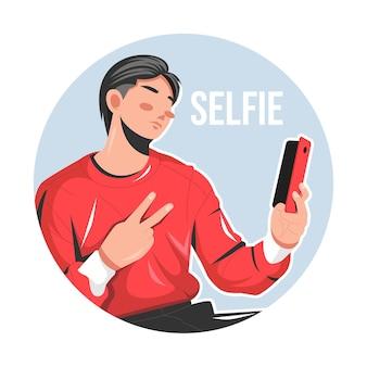 Człowiek pozowanie biorąc selfie zdjęcie płaskie wektor ilustracja