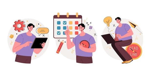 Człowiek, pracownik, postać, planujący swój czas, graficzna ilustracja projektu .