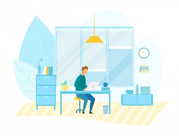 Człowiek pracujący na komputerze w biurze modern tech