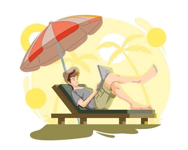 Człowiek pracujący zdalnie na zewnątrz ilustracji