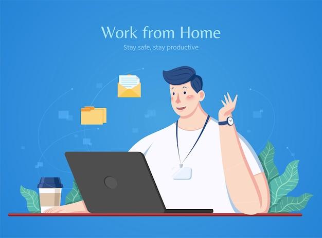 Człowiek pracuje w domu
