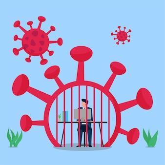 Człowiek pracuje w więzieniu wirusowym, metaforze pracy nad pandemią.