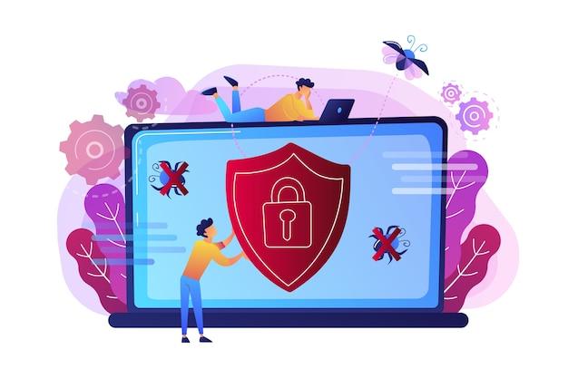 Człowiek przed laptopem z tarczą i blokadą na ekranie ilustracji