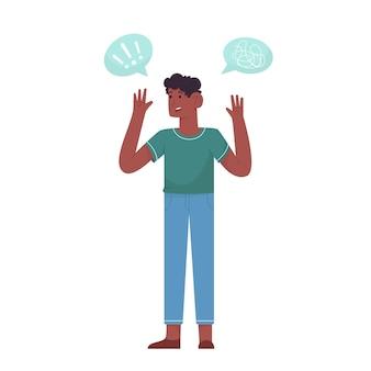 Człowiek ręce do góry, bo stres z problemem