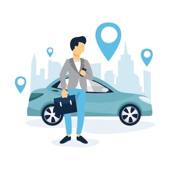Człowiek rezerwuje taksówkę przez aplikację na telefon komórkowy. usługa transportowa online. koncepcja podróży. ilustracja