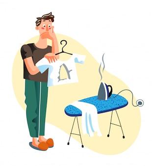 Człowiek robi dziurę w koszulce podczas prasowania ilustracja kreskówka